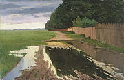 A Landscape with a Fence, by Estonian painter Paul Raud, c. 1906