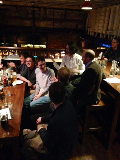 Talking Craft: (from left) Evan Stoner ('14), Hao Guang Tse ('14), Andy Tybout ('14), Chris Robinson ('14), Joel Calahan ('05, current preceptor), Eric McMillan ('10), Hilary Dobel ('09)