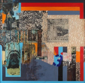 Ralph Arnold, The Waiting, 1973, collage with transfer, 44 x 44 inches.