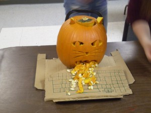 This year's winner: a pumpkin depicting a real-life event in the life of the choir director.