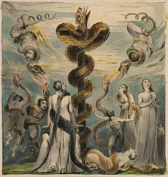 """Moses Erecting the Brazen Serpent"" by William Blake (c. 1801-3)"