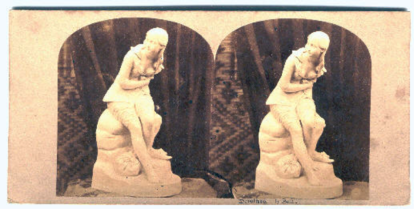 """Figure 3: Stereoscopic image of """"Dorothea"""" by Sculptor John Bell. Ca. 1850s. The slight difference in angles is virtually imperceptible, and the images appear to be doubles."""