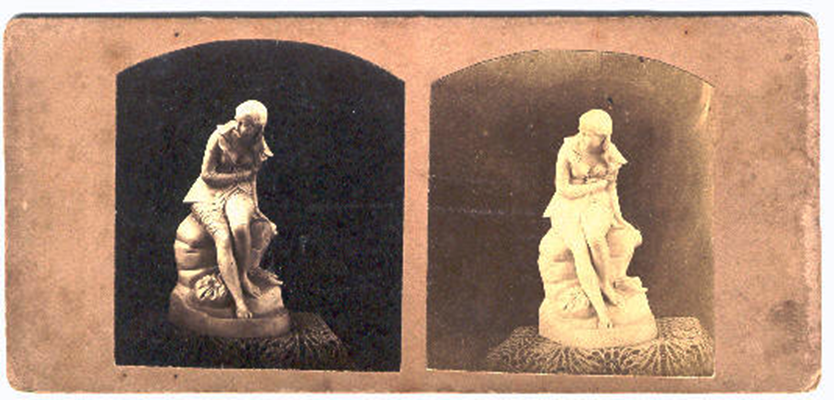 """Figure 4: Stereoscopic image of """"Dorothea"""" by Sculptor John Bell. Ca. 1850s. Discrepancy in photographic quality leads to a paler, more washed-out girl on the left. Note the greater difference in angle of perspective than in the earlier photos."""