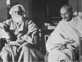 The Mahatma and the Poet (Source: Cover Photograph of Sabyasachi Bhattacharya's book with the same title)