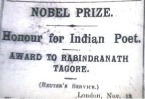 Telegram reporting receipt of Nobel Prize in Literature by Tagore  (Source: Reuter's, London, Nov 1913)