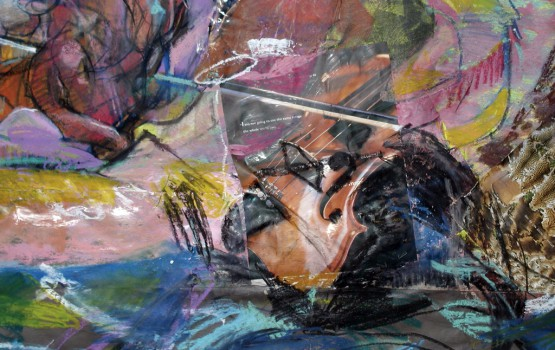 RB mixed media violin detail