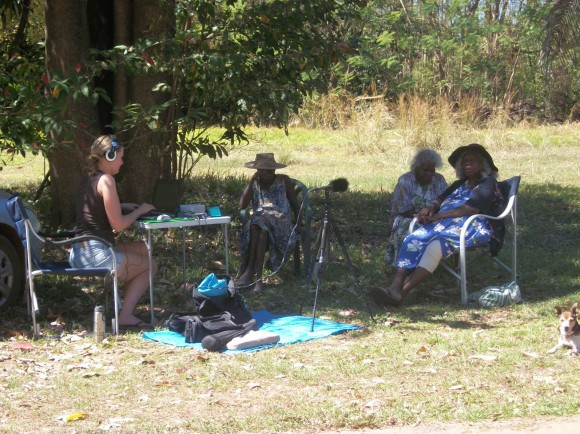 Sitting in the shade of a Banyan Tree to record Dreamtime Stories
