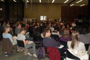 The School of Social Service Administration lobby was filled to capacity the evening of Thursday, Nov. 11th, for the third public discussion in the Poverty, Promise, and Possibility initiative.