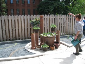 A wider view of the garden, with our landscaper Julia Govis.