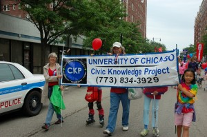 Bart Schultz with others carrying the CKP Banner in yesterday's parade.