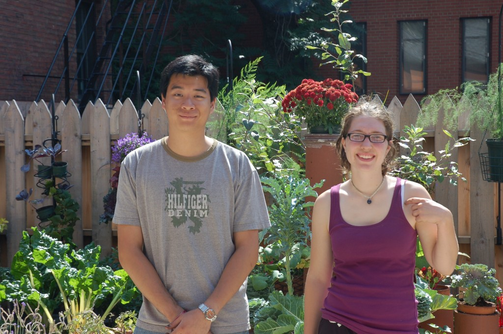Cecilia Donnelly and Michael Cheong-Leen in front of the Edible Arts Garden.