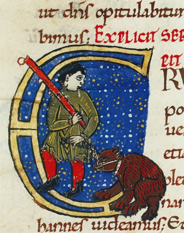 Commentary on the Gospel of John, folio 141 verso; Man and Bear Enchained, Tours, Bibliothèque Municipale Ms. 291