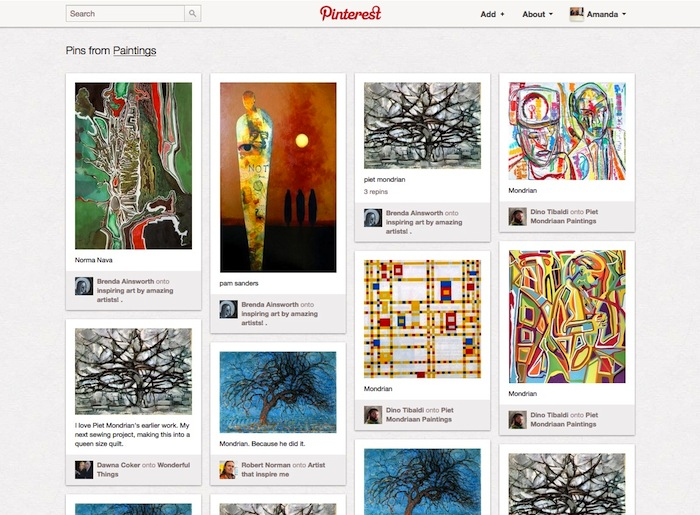 An array of paintings that have been pinned by users on Pinterest.