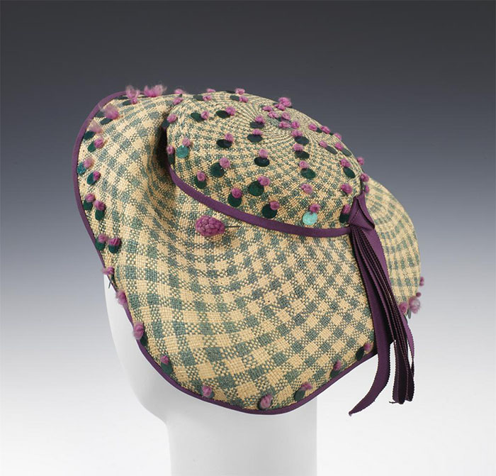 "Hat, Day by Sally Victor, 1944. Image Courtesy The Metropolitan Museum of Art: Brooklyn Museum Costumes. ""Reproduction of any kind is prohibited without express written permission in advance from The Metropolitan Museum of Art."