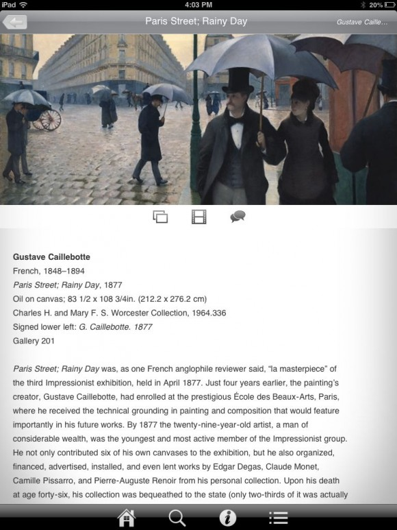 Caillebot Screenshot from French Impressionism App