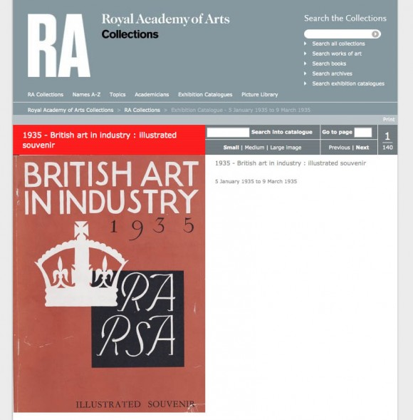 Royal Academy of Arts Exhibition Catalogue Search