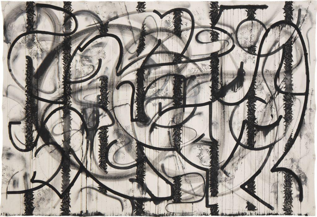 Enrico Isamu Ōyama, FFIGURATI #118, 2015. Acrylic-based aerosol and sumi ink on unstretched canvas, 186 x 268 cm. Photo © Tom Carter