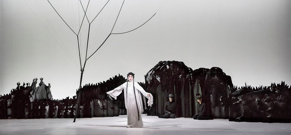 Jennifer Wen Ma, Paradise Interrupted, 2016. An installation opera in one act. Directed and visually designed by Jennifer Wen Ma, composed by Huang Ruo. Starring Qian Yi (pictured), John Holiday, Yi Li, Joo Won Kang, and Ao Li. View from Lincoln Center Festival 2016 at Gerald W. Lynch Theater, New York, NY, July 13–16, 2016. Photo Marina Levitskaya